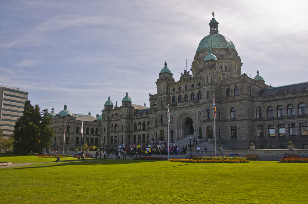 A photograph of the BC legislature building on a sunny day.